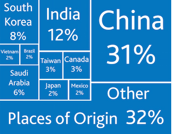 Origin of Intl. Students in the U.S. (source: iie)