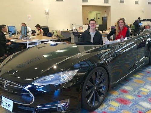 AdmitSee's Oakley Purchase and Lydia Fayal take a spin in the DraperU Tesla desk