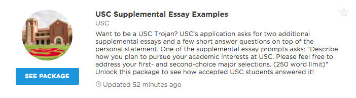 usc supplemental essay prompts short answer questions  our premium plans offer different level of profile access and data insights that can help you get into your dream school unlock any of our packages or