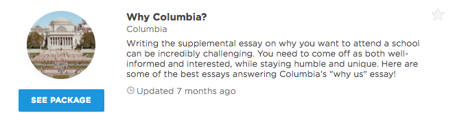 """why columbia"" essay intros that worked admitsee our premium plans offer different level of profile access and data insights that can help you get into your dream school unlock any of our packages or"