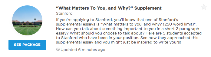 "what matters to you and why "" stanford supplemental essay  our premium plans offer different level of profile access and data insights that can help you get into your dream school unlock any of our packages or"