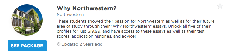 "successful ""why northwestern"" essay intros admitsee our premium plans offer different level of profile access and data insights that can help you get into your dream school unlock any of our packages or"