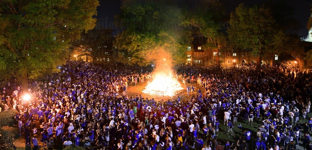 Bonfire in honor of Duke's 2010 NCAA championship