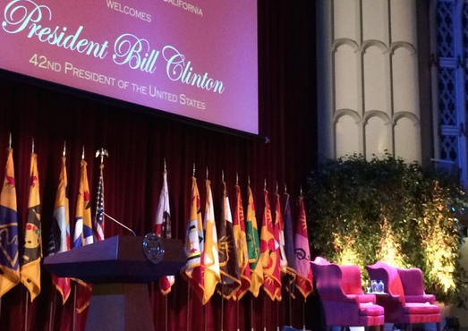Stage for Former Pres. Bill Clinton's speech at USC